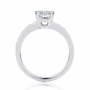 Asscher Side Stones Engagement Ring White Gold | Zen