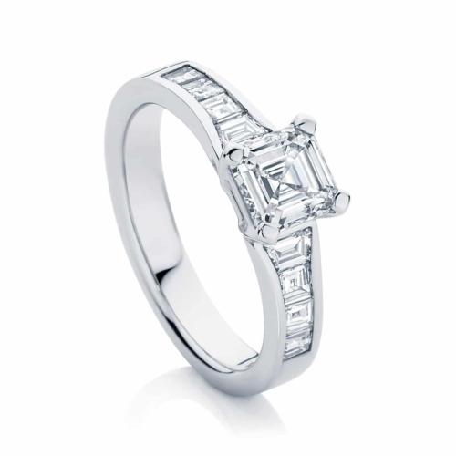 Asscher Side Stones Engagement Ring White Gold   Zen