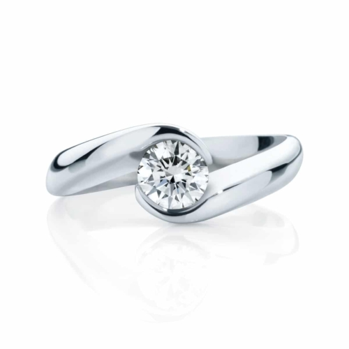 Round Solitaire Engagement Ring White Gold | Zephyr (Brilliant)