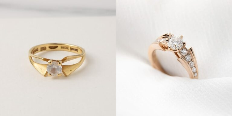 A before and after image of a recent jewellery remodelling project by Larsen Jewellery