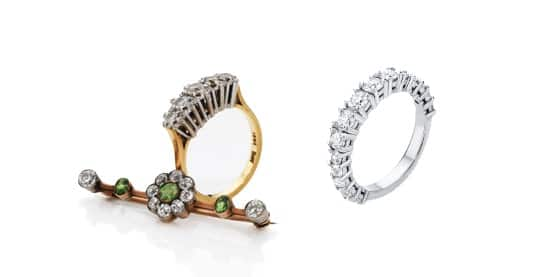 A before and after of some old jewellery that has been transformed into a new eternity ring