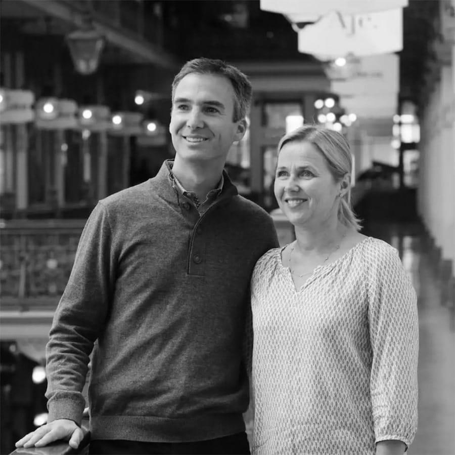 Larsen Jeweller founders, Lars and Susie Larsen in the Strand Arcade, Sydney.