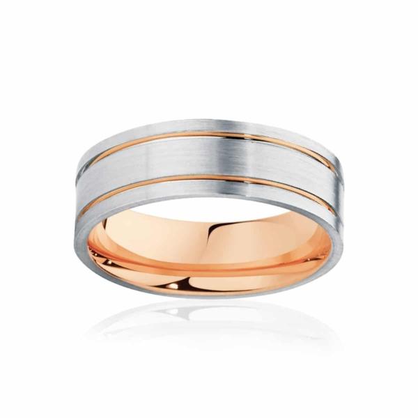Mens Two Tone Rose Gold & White Gold Wedding Ring|Aruba