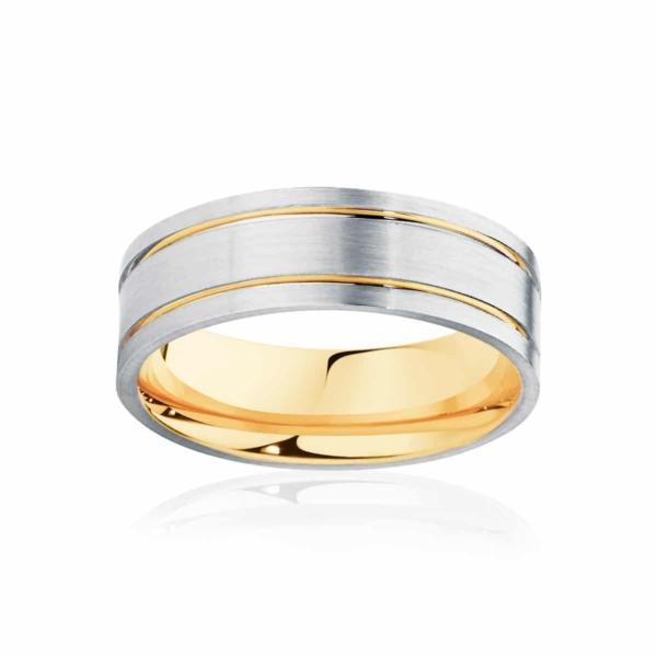 Mens Two Tone Yellow Gold & White Gold Wedding Ring|Aruba