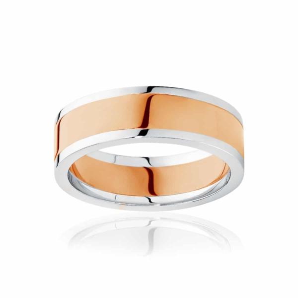 Mens Two Tone Rose Gold Wedding Ring|Avoca