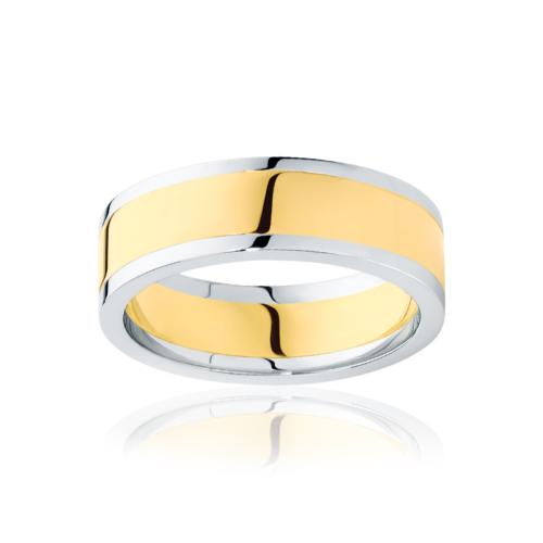 Mens Two Tone Yellow Gold Wedding Ring Avoca