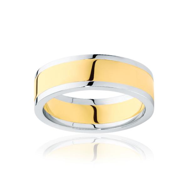 Mens Two Tone Yellow Gold Wedding Ring|Avoca