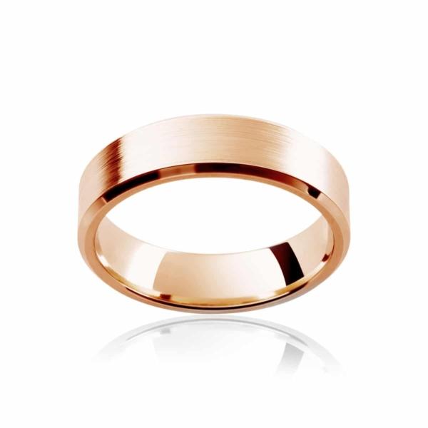 Mens Rose Gold Wedding Ring Bevelled Edge