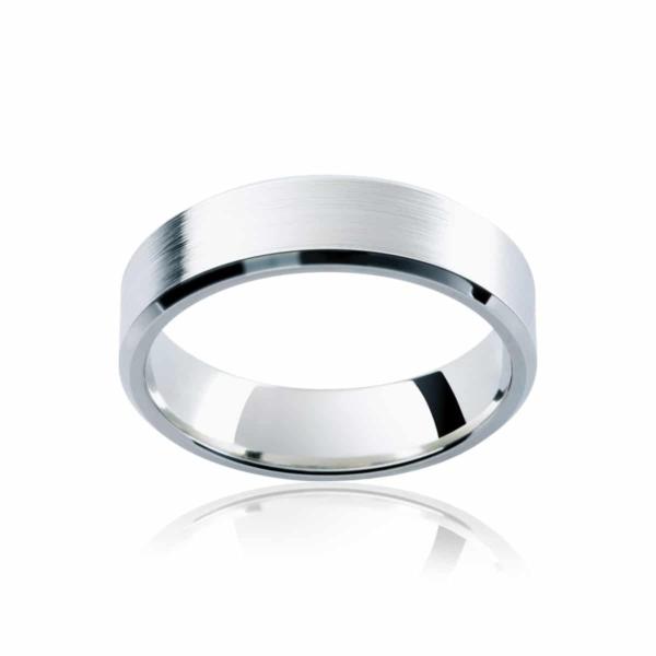 Mens White Gold Wedding Ring|Bevelled Edge