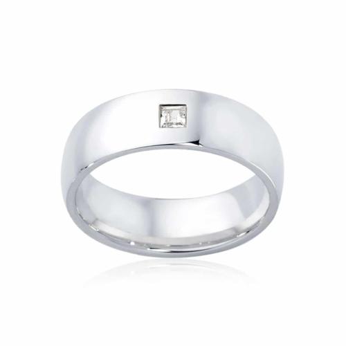 Mens White Gold Wedding Ring Bordeaux