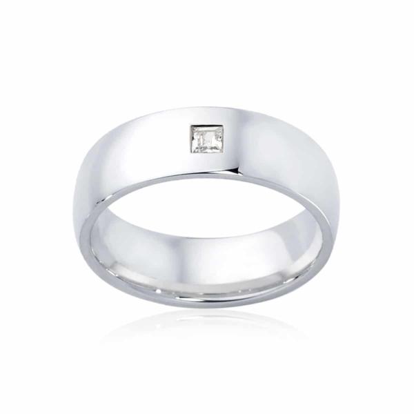 Mens White Gold Wedding Ring|Bordeaux