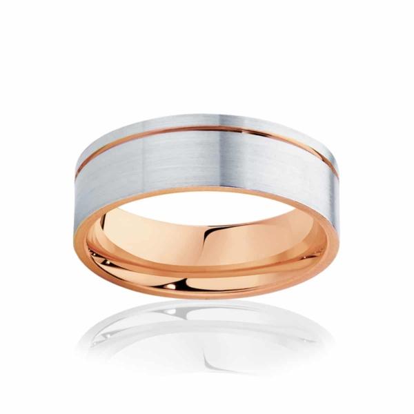 Mens Two Tone Rose Gold Wedding Ring|Cuba