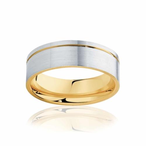 Mens Two Tone Yellow Gold Wedding Ring|Cuba