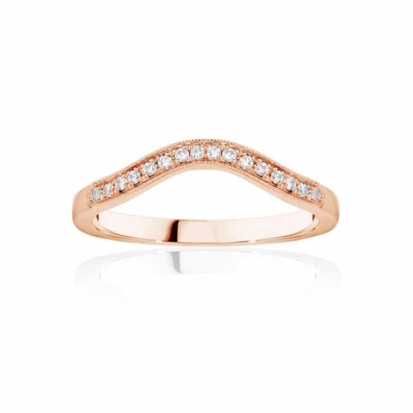 Womens Contoured Vintage Rose Gold Wedding Ring|Curve