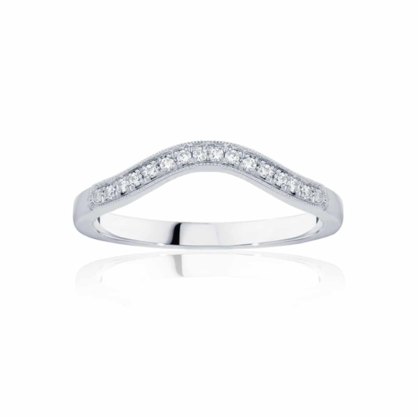 Womens Contoured Vintage White Gold Wedding Ring|Curve