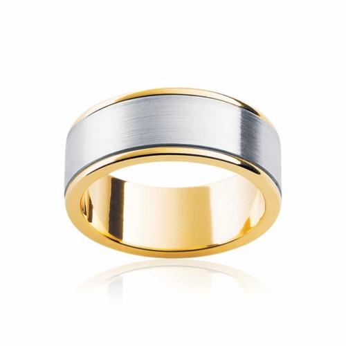 Mens Two Tone Yellow Gold Wedding Ring Dallas