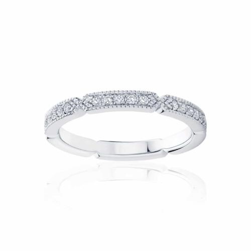 Womens White Gold Wedding Ring Deco Infinity