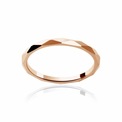 Womens Classic Rose Gold Wedding Ring|Fine Faceted
