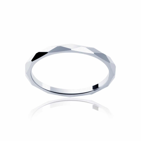 Womens Classic White Gold Wedding Ring|Fine Faceted