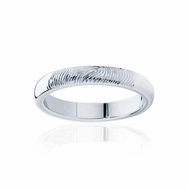Womens White Gold Wedding Ring|Fine Fingerprint