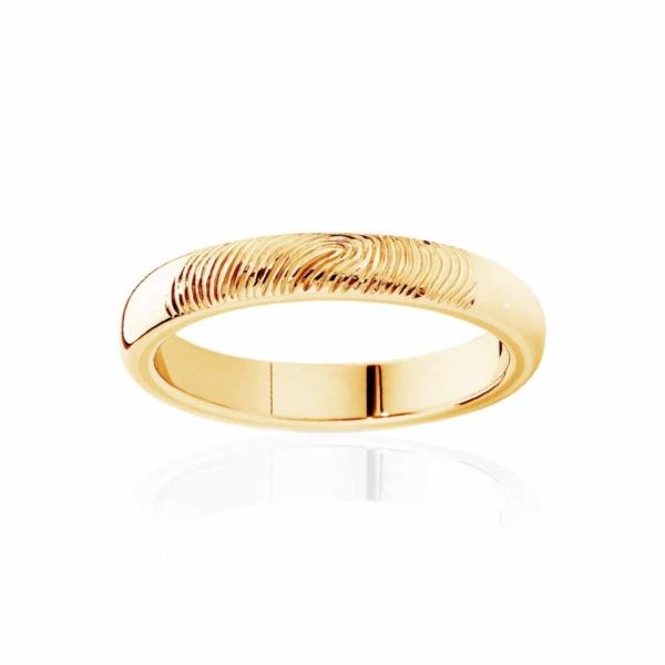 Womens Yellow Gold Wedding Ring Fine Fingerprint