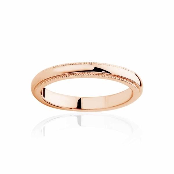 Womens Classic Rose Gold Wedding Ring|Fine Millgrain