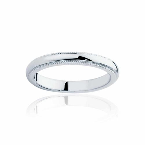 Womens Classic White Gold Wedding Ring|Fine Millgrain