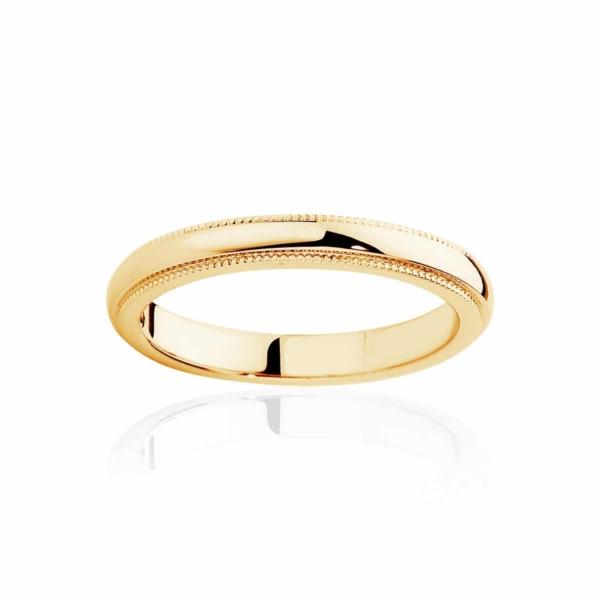 Womens Classic Yellow Gold Wedding Ring Fine Millgrain