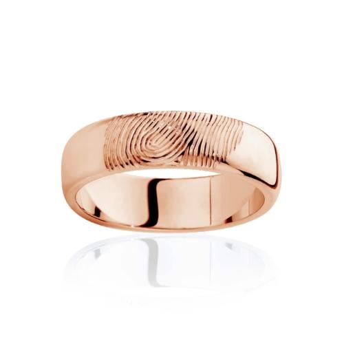Mens Rose Gold Wedding Ring|Fingerprint