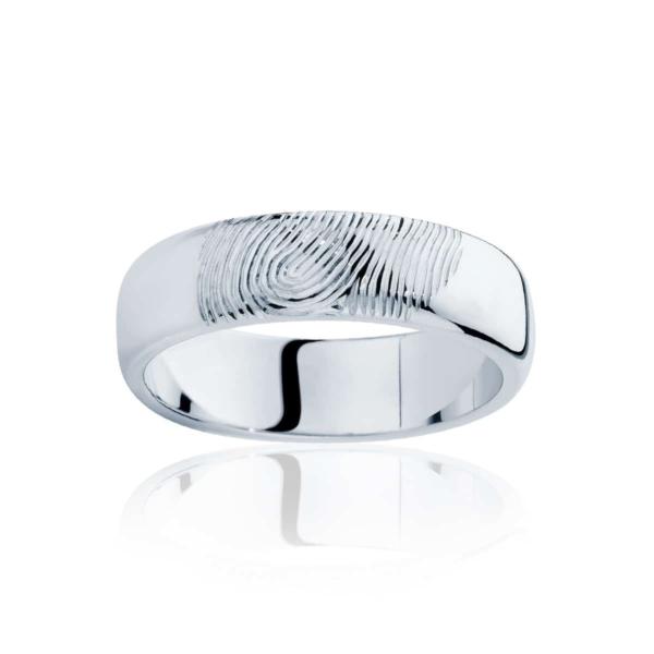 Mens White Gold Wedding Ring|Fingerprint