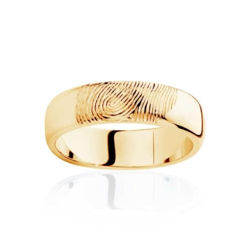 Mens Yellow Gold Wedding Ring Fingerprint