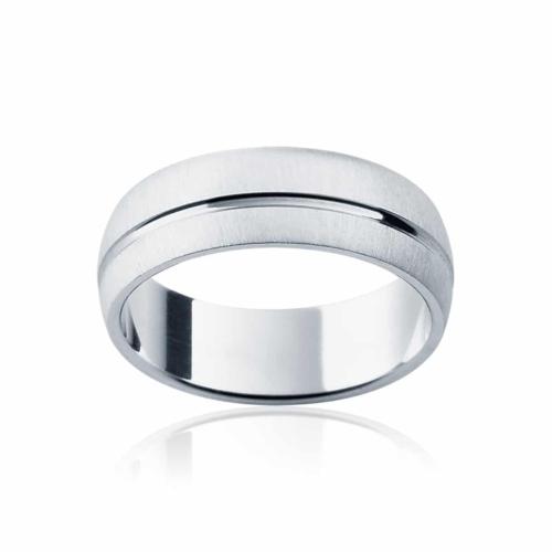 Mens White Gold Wedding Ring Fjord