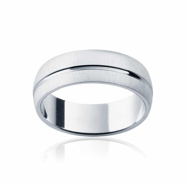 Mens White Gold Wedding Ring|Fjord