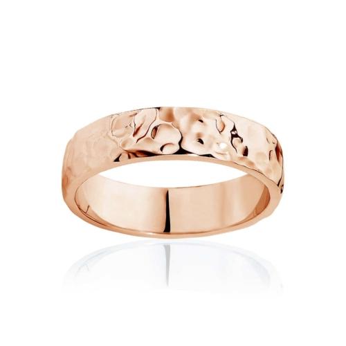 Mens Rose Gold Wedding Ring Hammertone