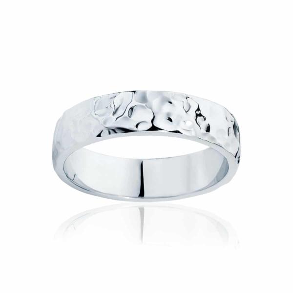 Mens White Gold Wedding Ring|Hammertone