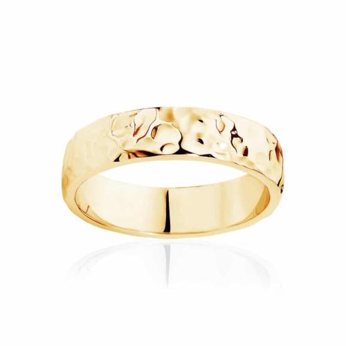 Mens Yellow Gold Wedding Ring|Hammertone