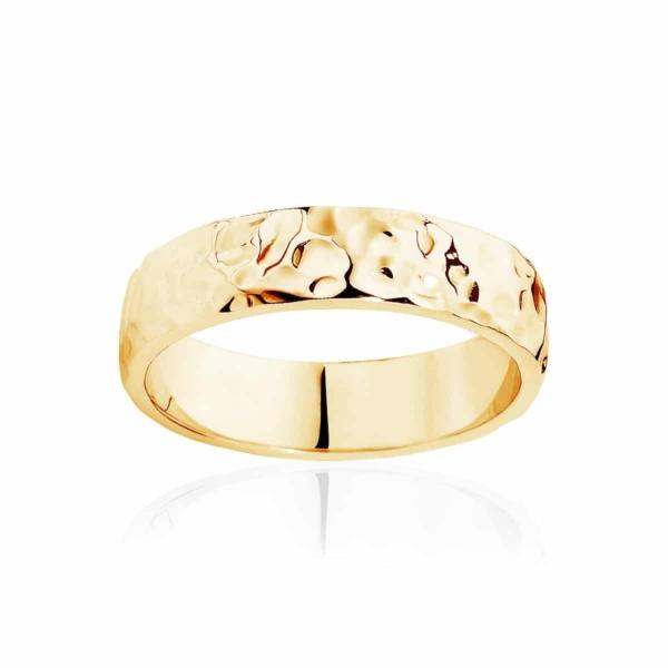 Mens Yellow Gold Wedding Ring Hammertone