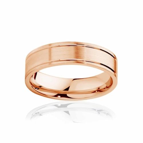 Mens Rose Gold Wedding Ring Huxley Matte