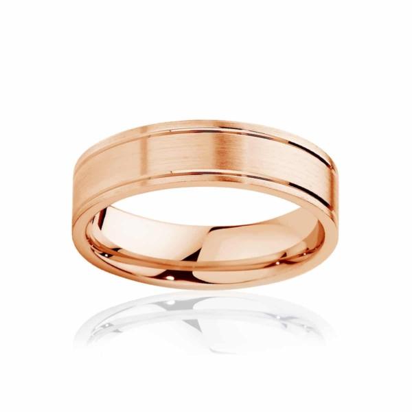 Mens Rose Gold Wedding Ring|Huxley Matte