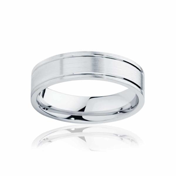 Mens White Gold Wedding Ring|Huxley Matte