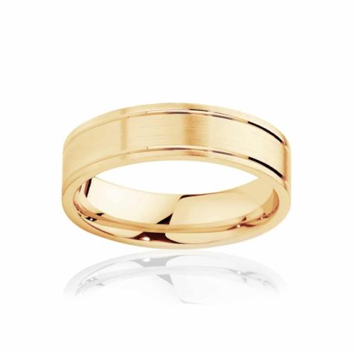 Mens Yellow Gold Wedding Ring|Huxley Matte