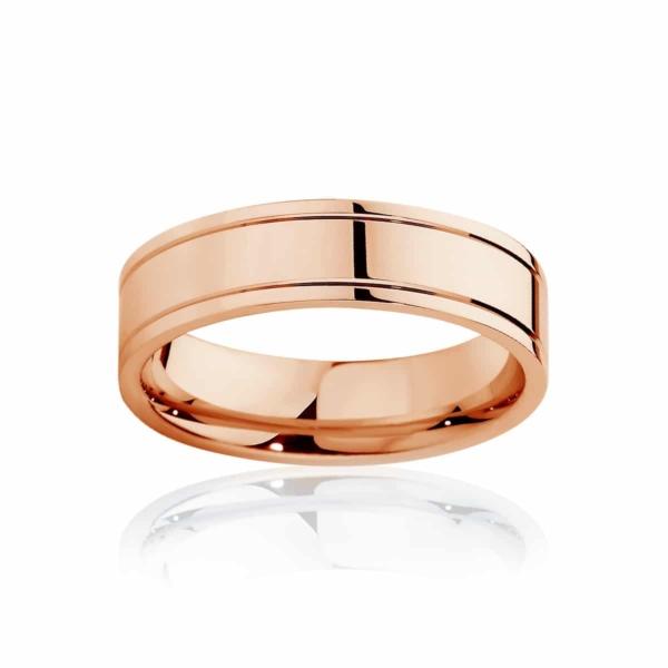 Mens Rose Gold Wedding Ring|Huxley