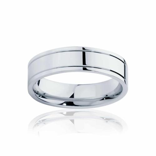 Mens White Gold Wedding Ring|Huxley