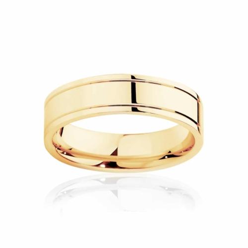Mens Yellow Gold Wedding Ring|Huxley