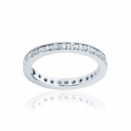 Womens Vintage Platinum Wedding Ring Infinity Bead Set