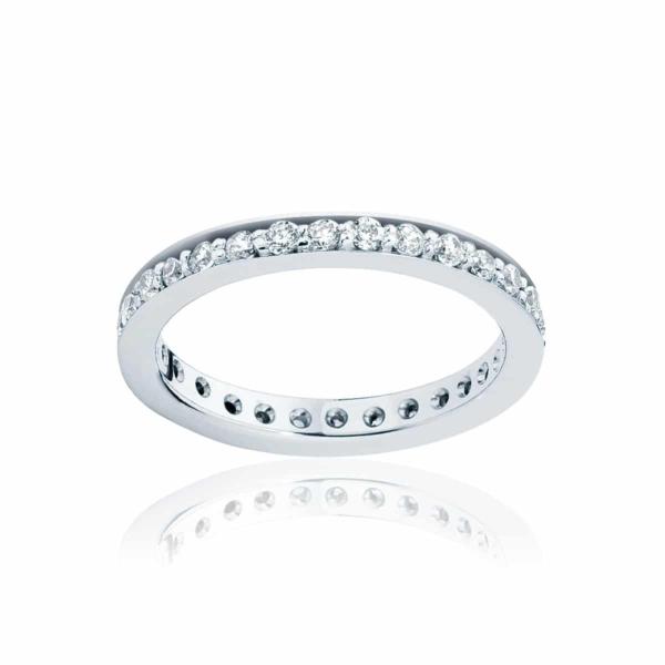 Womens Vintage Platinum Wedding Ring|Infinity Bead Set