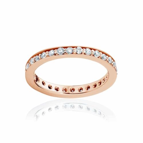 Womens Vintage Rose Gold Wedding Ring|Infinity Bead Set