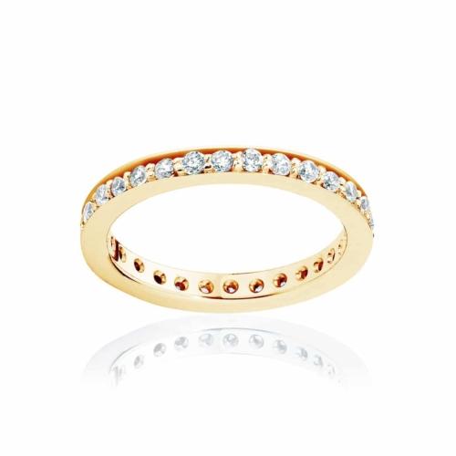 Womens Vintage Yellow Gold Wedding Ring Infinity Bead Set