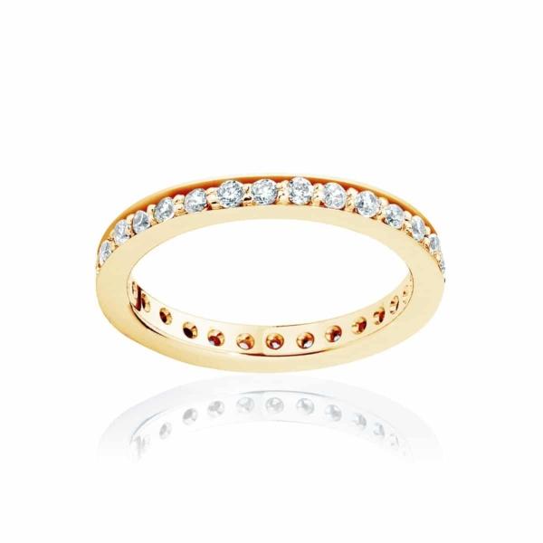 Womens Vintage Yellow Gold Wedding Ring|Infinity Bead Set