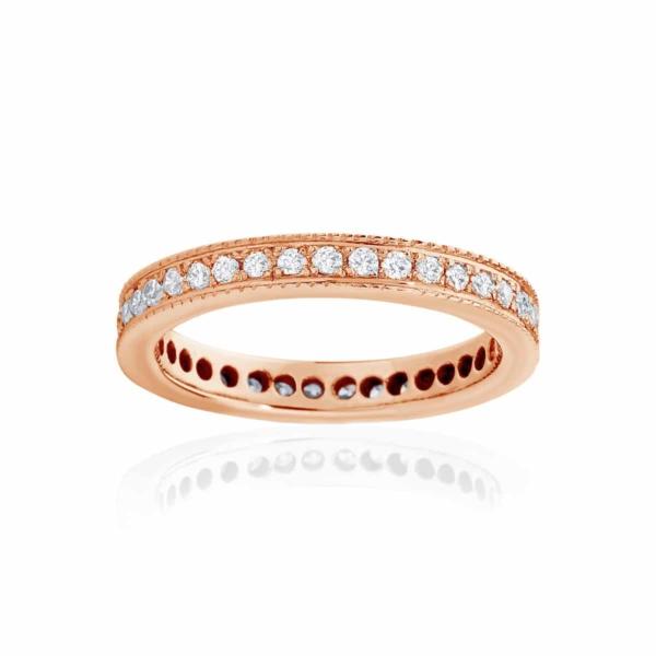 Womens Rose Gold Wedding Ring|Infinity Millgrain